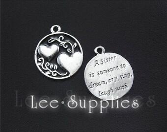 10pcs Antique Silver Round Sister Love Charms Pendant A1433