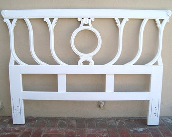 Vintage Art Deco - Hollywood Regency Hand Carved French Provincial Shabby Cottage White Painted Headboard - QUEEN - Local PICK-UP Only