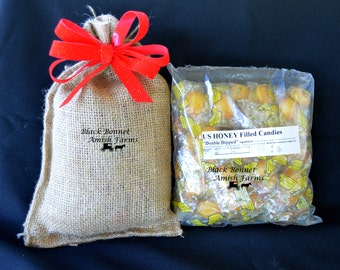 1 Pound Real Honey Candy in Burlap Bag Gift Sale made with real pure honey and filled with liquid honey