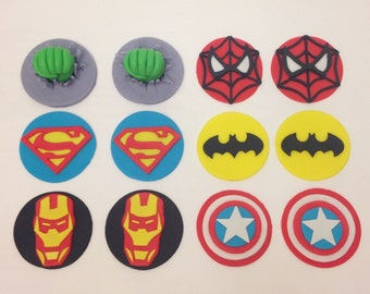 Superhero Cupcake Toppers - Edible Fondant - Set of 12