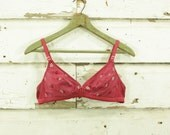 vintage hand dyed raspberry pink embroidered detail comfortable bra 32 34 A B