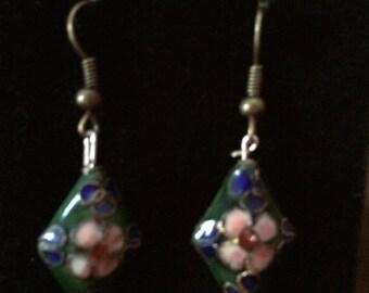 Dark Green Flower Earrings