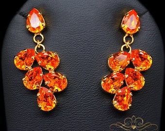 Bridal Chandeliers, Wedding Chandelier, Orange Earrings, Bridal Earrings, Bridesmaid Gift, Bridal Earrings,Bridal Drop Earrings,Gift For Her