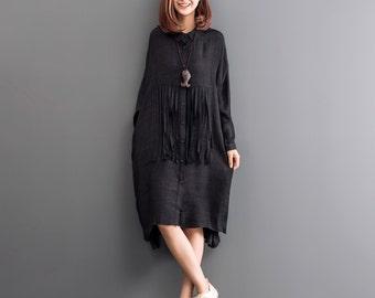 Black tunic dress asymmetrical shirt long sleeve dress cotton blouse maxi dress large size top plus size clothing