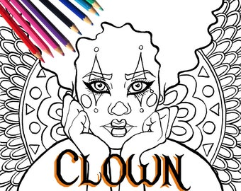 Halloween Harlequin Circus Clown Adult Coloring Page and Digital Stamp