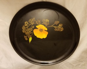 Couroc of Monterey try with yellow/orange inlaid flowers plate 10""