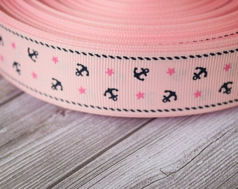 "Nautical ribbon - pink and navy - Anchors and stars - 1"" grosgrain ribbon - 3 or 5 yard lot - Baby pink navy blue - By the sea"