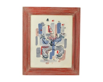 Mid-Century Modern Whimsical Juggling Clown Gouache Painting signed Ali