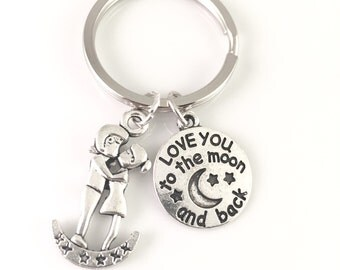 I Love You to The Moon and Back Keychain, Love Mesage Keychain, Silver Moon Keychain, Christmas Gift, Best Friends Jewelry, Moon Lover Gift