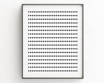 Swiss Cross Print, Black and White Printable Art, Geometric Print, Swiss Cross Art, Geometric Art, Printable Wall Art, Plus Sign