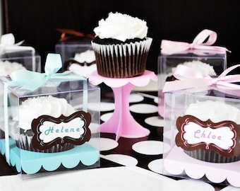 Pink / Blue / Purple or White Cupcake Favor Boxes. Clear Cupcake Boxes - Square Cupcake Boxes. Wedding Favor Boxes. 10 boxes. Party Supplies