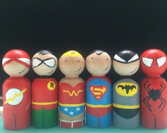 Superhero peg dolls / cake toppers / collectibles