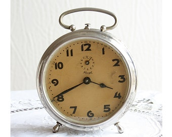 Vintage alarm clock German Kienzle 1940's wind up desk clock Antique Collectible mechanical working metal clock Industrial Rustic home decor