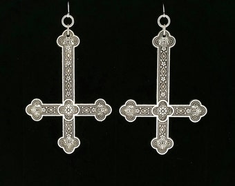 INVERTED CROSS earrings, ear weights, large, ornate, upside-down cross, goth, gothic, satanic symbols, occult, occultism,  metalhead, magick