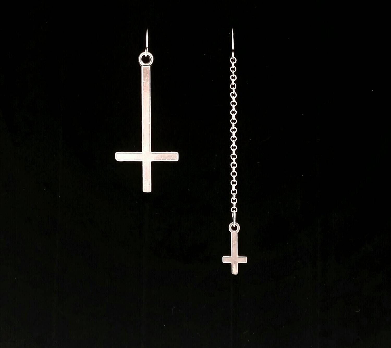 INVERTED CROSS Earrings Satanic Jewelry Mismatched Earrings