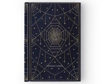 Hard Cover Antique Style Spider Silk Stars Book Journal
