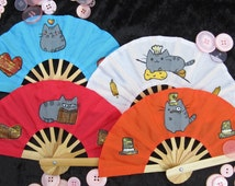 Small Pusheen hand painted folding hand fan
