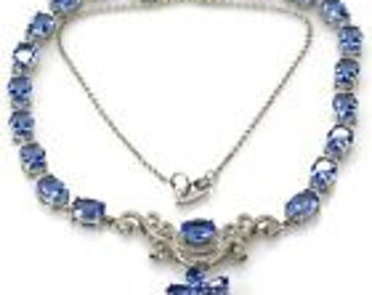Handmade tanzanite sterling silver necklace