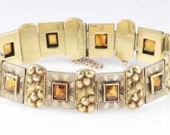 14K Vintage Citrine Bracelet Yellow Gold 1950s