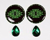 Tribal Green Epoxy Cabs with Teardrop Gems