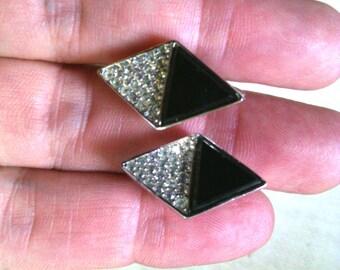 Vintage Trifari Rhinestone and black earrings