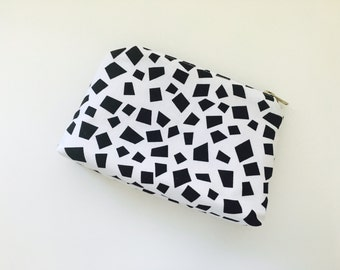 Black & White abstract cosmetic bag, makeup bag, travel pouch