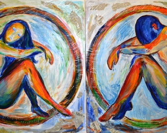 """Diptych """"Creation of the Universe"""" - Mixed Media Art. Acrylic painting on plywood."""
