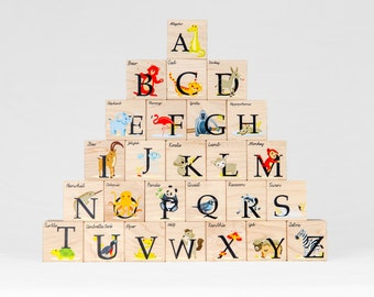 Wooden Alphabet Blocks with animals, color baby toddler abc letter block toy