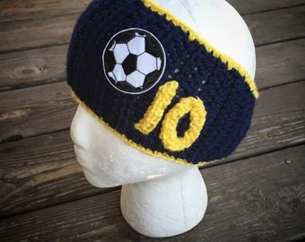 Crochet Soccer or football Ear Warmer