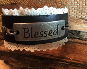 Blessed Leather and Lace Cuff