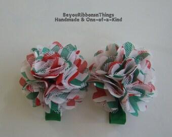 Christmas Satin Mesh Flowers Hair Clips for Girls Toddler Barrette Kids Hair Accessories Grosgrain Ribbon No Slip Grip