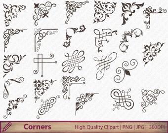 Corner calligraphy swirls clipart, wedding invitation clip art, flourish graphics,  scrapbooking, digital instant download, jpg png 300dpi