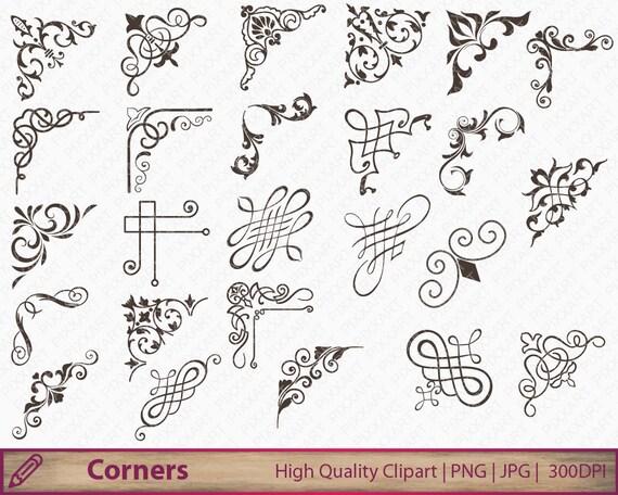 Corner calligraphy swirls clipart wedding invitation clip