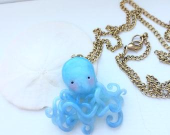 Handmade polymer clay crystal ocean blue octopus pendant/necklace