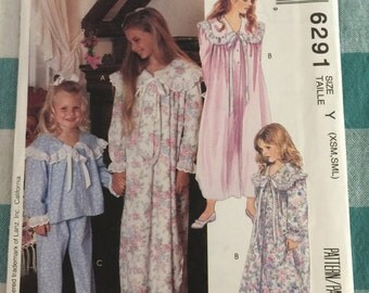 6291 McCall's Vintage Girls Pajamas and Nightgown Sewing Pattern P192