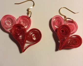 Red and Pink Heart Quilled Earrings