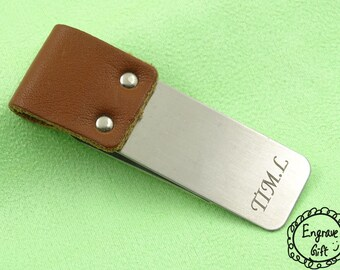 Personalised Custom Laser Engrave Steel Money Clip Steel with Leather End in your Own Gift Ideas