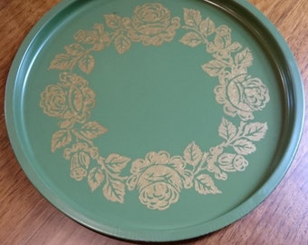 Vintage Gold and Green Rose Motif Serving Tray/ Hollywood Regency/Kitchen