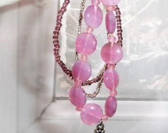 Pink charm bracelet set