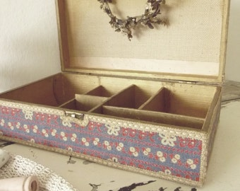 Reserved for Judy!!!!!!!!!!!!!!!!!!!Antique large fabric-covered box from France...CHARMANT!