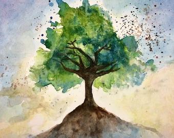 Tree / watercolor print/ nursery art/ surreal/ whimsical