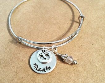 Midwife gift / Bangle charm bracelet / Midwife thank you gift / Baby footprint charm / stackable adjustable bracelets / Midwife present