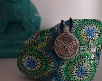 Butterfly Pendant Necklace- High Fired Clay