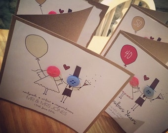 Personalised wedding, wedding anniversary button people (personalised as option) cards