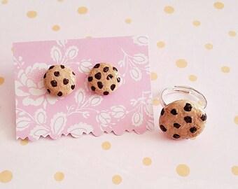 Chocolate chip cookie earrings ring set handmade