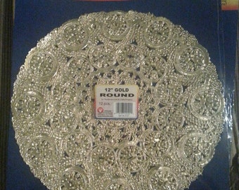 Gold Paper Doilies 12""