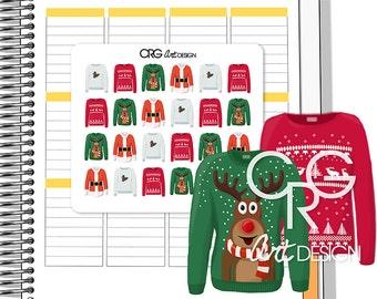 Christmas Jumper Stickers  | Planner Erin Condren Plum Planner Filofax Sticker