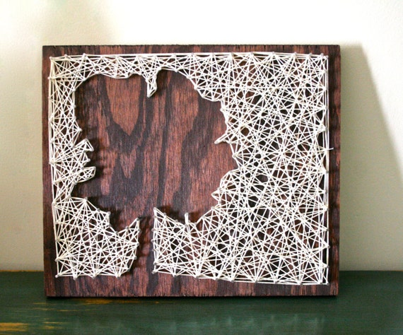 Petit arbre String Art | «L'arbre porte-bonheur» | Au revers arbre fils tendus
