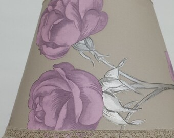 Lamp shade pink roses & metallic highlights on a coffee background, handmade lampshade, table lamp shade, bedroom decor, upcycled lighting
