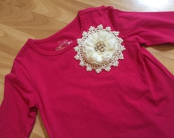 Girls Size5 Hot Pink Hand Embellished Top
